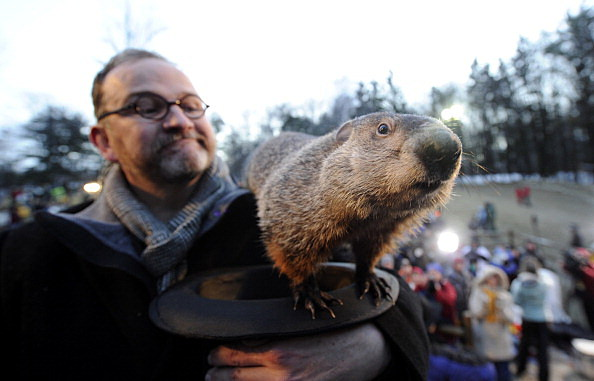 Crowds Gathering On Groundhog's Day For Punxsutawney Phil Tradition
